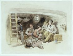 'The Fore-peak Yarn'. Original illustration to Marryat's 'Poor Jack' (1840, Clarkson Stanfield). Jack (Tom Saunders), on his first passage as apprentice to Bramble the pilot, listens to a seamen's yarn in the forepeak of the West Indiaman that they have brought down the Thames to Sheerness. Two of the crew are sitting on a sea chest, a third on a folded sail on the deck, the fourth on a coil of rope.