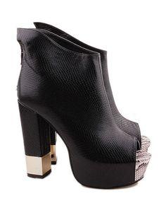 Snakeskin Effect Peep Toe Sandals