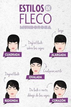 ¿Cuál es el fleco que mejor le va a tu tipo de cara? | 14 Infografías para cuidar el pelo que toda mujer agradecerá