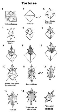 How to fold an origami tortoise.  I probably have a dozen different diagrams for turtles, but this one is cute, too.