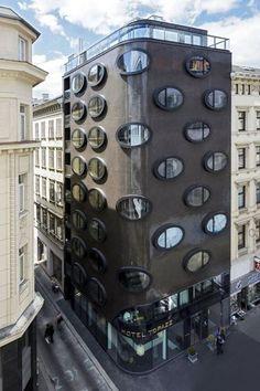 Hotel Topazz in Vienna, Austria / BWM Architekten und Partner Unique Buildings, Amazing Buildings, Amazing Architecture, Architecture Design, Creative Architecture, Sustainable Architecture, Contemporary Architecture, Design Hotel, Facade Design