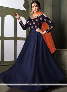 We unfurl our the intricacy and exclusivity of our creations highlighted in such a gorgeous navy blue tafeta silk trendy gown. The embroidered work on dress personifies the overall appearance. Designer Anarkali, Designer Gowns, Designer Wear, Long Gowns Online, Dresses Online, Latest Anarkali Suits, Abaya Fashion, Icon Fashion, Looks Chic