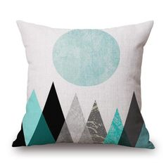 Sofa Bed Pillow Protect Cover,Arroker Home Indoor Chair Car Festival Decorative Soft Square Pillow Cushion Linen Pillow Inner) (Mountains) Throw Pillow Cases, Decorative Throw Pillows, Pillow Covers, Sofa Bed, Bed Pillows, Triangular Pattern, Personalised Cushions, Buy Sofa, Textiles