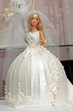 Barbie Doll Bride Cake @Sarah Chintomby Chintomby Chintomby Chintomby Graveline @Veronika Krumm Krumm Krumm Hase Graveline I feel like mom would think it'd be funny to make this for me...