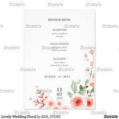 Lovely Wedding Floral Invitation Floral Invitation, Floral Wedding Invitations, Wedding Invitation Templates, Wedding Dinner Menu, Keep It Cleaner, Marriage, Prints, Valentines Day Weddings, Weddings