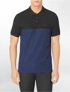 Polo Calvin Klein Men's Body Slim Fit Pique Colorblock Polo Shir Black #Calvin Klein#Polo