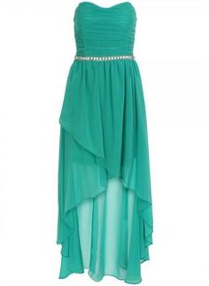 Aqua Shirred Layered High Low Strapless Chiffon Dress,  Dress, high low dress  strapless, Chic