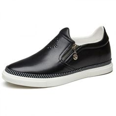 2.4inch / 6cm black calfskin side zip slip on height casual loafers