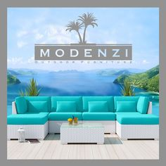 MODENZI DELUXE 7C WHITE Modern Outdoor PE Wicker Sofa Patio Furniture Set #MODENZI
