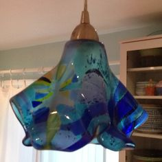 Mermaid pendant light made with fused glass - by me!