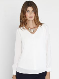 84d22123f8432 Layered Chiffon Nursing V-Neck Blouse in White, $49.95, is the perfect  special