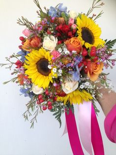 Bridal wedding bouquet of sunflowers, roses, Geraldton wax, babies breath, delphinium hypericum berries, and paper daisies in yellows, pinks, red, burnt oranges, and creams. Wedding Looks, Rose Wedding, Fall Wedding, Wedding Flowers, Dream Wedding, Wedding Ceremony, Wedding Stuff, Cream Flowers, Cream Roses