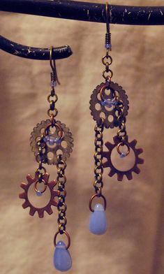 Gearings TM with Sky Blue Glass Beads by AdroitMinds on Etsy, $12.00