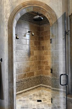 I love the arch and multiple shower heads! On this site there is a walk through shower that I think is brilliant. No doors or glass to keep clean and no shower curtain. Master Shower, Walk In Shower, Master Bathroom, Tuscan Bathroom, Shower Doors, Dream Shower, Bathroom Interior, Rain Shower, Old Houses