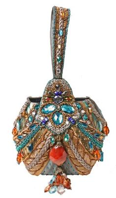 Mary Frances Jubilee Gold & Teal Evening Wristlet Handbag