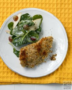 Buttermilk Baked Chicken with Spinach Salad - Low Calorie Comfort Food