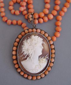 "VICTORIAN coral beads and cameo necklace, cameo is set in 900 silver and beads have a clasp marked ""pat. 9ct"", circa 1890"