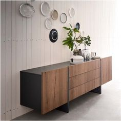 Arrow two-tone sideboard, available in wood, lacquer, or open pore lacquer - photo: bisquit antique oak wood finish Modern Sideboard, Sideboard Cabinet, Sideboard Decor, Retro Sideboard, Interior Design Living Room Warm, Living Room Designs, Furniture Decor, Modern Furniture, Furniture Design