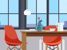 хороший пример современного интерьера. хорошо по цвету  Dining Room Setting   Those sure look like Eames Chairs illustrated by Nathan Manire