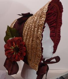 "My 1840's Bonnet Hack I started off with a $5, 18"" straw craft hat and scraps of related trim and fabric from my stash. I purchased straw trim (which will be returned), a few flowers and ribbon. 18""..."