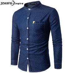 2017 Brand New Men Casual Shirt Long Sleeve Turn Down Collar camisa masculina Small Holes Design Men Jean Shirt