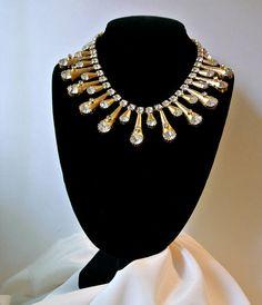 Vintage Rhinestones Cones Necklace