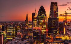 Download wallpapers London, skyscrapers, The Shard, 30 St Mary Axe, 4k, UK, evening, business centers, city lights, modern architecture