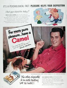 """1956 Camel Cigarettes original vintage advertisement. Featuring celebrity endorsement by Hollywood star Rock Hudson. Says Rock: """"I've tried them all - but it's Camels for me!"""" No other cigarette is so rich tasting yet so mild."""