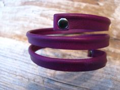 Purple Leather wrap cuff