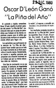 """Oscar D'León resultó el primer ganador del Premio """"La Piña del Año"""", otorgado por periodistas caraqueños a los artistas difíciles de entrevistar. Publicado el 29 de diciembre de 1980."""