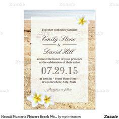 ハワイ|プルメリア|花|ビーチ|結婚|招待状 12.7 X 17.8 インビテーションカード