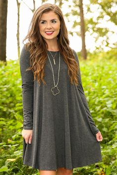 Simplicity Is Key T-Shirt Dress-Charcoal - New Today | The Red Dress Boutique
