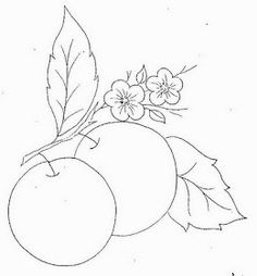 Embroidery Stitches Tutorial, Embroidery Patterns, Hand Embroidery, Art Drawings Sketches Simple, Cute Drawings, Food Coloring Pages, Beautiful Flower Drawings, Fruit Art, Bullet Journal Inspiration