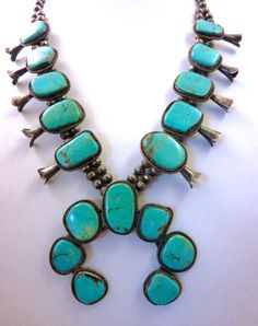 vintage squash blossom silver & turquoise necklace - Google Search