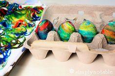 Dyed Easter Egg Roll - shaving cream