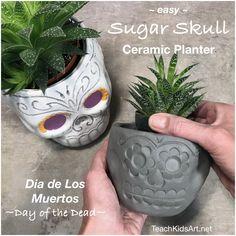 Easy Sugar Skull Ceramic Planter/Pot for Dia de los Muertos / Day of the Dead