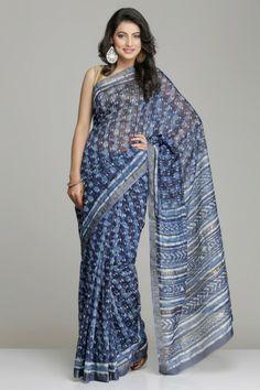 Striking Indigo Blue Maheshwari Saree With White Hand Block Print And Gold Zari Border