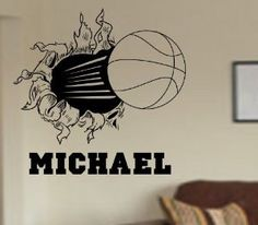 Basketball Bursting Through Wall Vinyl Wall by Decals4YourWalls, $28.00
