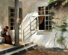 Peter Ilsted (1861 – 1933) «Woman sewing outside Liselund»
