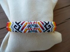 Peyote stitch beaded bracelet, Native American beadwork handmade on Etsy, $65.00