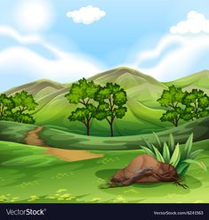 Nature scene with field and hills vector image on VectorStock Scenery Drawing For Kids, Dinosaur Background, Dolphin Drawing, School Border, School Cartoon, Beautiful Mosques, Amazing Paintings, Landscape Illustration, Nature Scenes