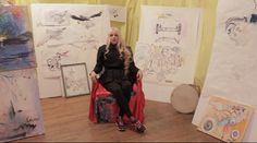 Phoebe talking about the ShamanCycle in her studio, surrounded by her drawings! Studio, Simple, Drawings, Studios, Sketches, Drawing, Portrait, Draw, Grimm
