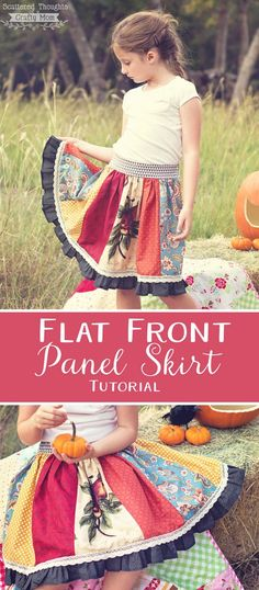 A must make: Easy to sew, Flat Front skirt pattern and tutorial for girls.  This multi-paneled version is a fabulous way to show of your favorite fabric combos or seasonal prints!