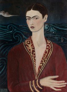 Frida Kahlo Autorretrato con traje de terciopelo - Self portrait Wearing a Velvet Dress (1926)photography colored with oil by the artist 12,5 x 17,0cmMuseo Frida Kahlo,Coyoacán, Mexicohttp://www.museofridakahlo.org.mx/Google Art Project