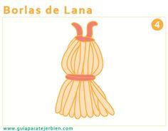 Realizar Borlas Las borlas sirven para rematar objetos para decorar el hogar como por ejemplo rematar bordes de mantas o colchas tejidas y también para partes del vestido.