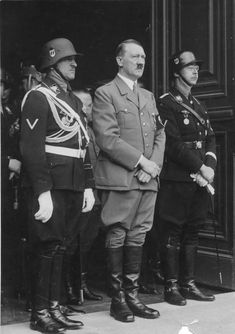 Adolf Hitler with SS-Obergruppenführer Sepp Dietrich (left) and SS-Reichsfüherr Heinrich Himmler, 1937.