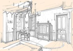 sketches of interiors by Aleksandr Starostin, via Behance