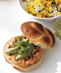Salmon burgers with corn salad. It's what's for dinner tonight!
