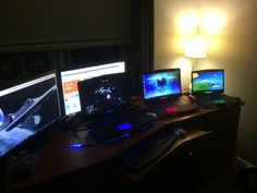 My desk and computers at home.