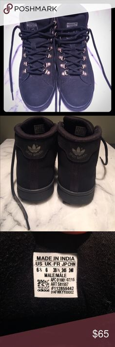 LE Adidas Stan Smith high top boots Unisex Barely worn, excellent condition. Just not quite for me. Unisex. Adidas Shoes Athletic Shoes